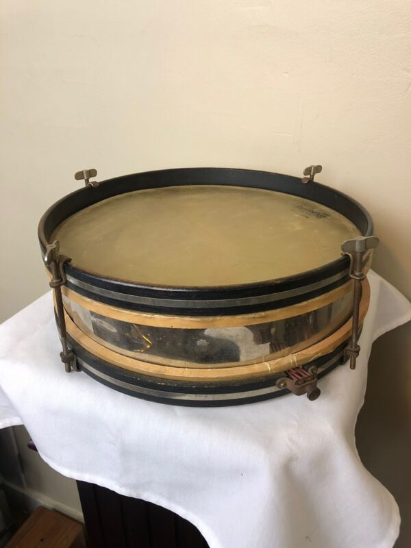 Early Ludwig Snare Drum Genuine Calfskin Drumheads Nickel Plated with Wood Rims