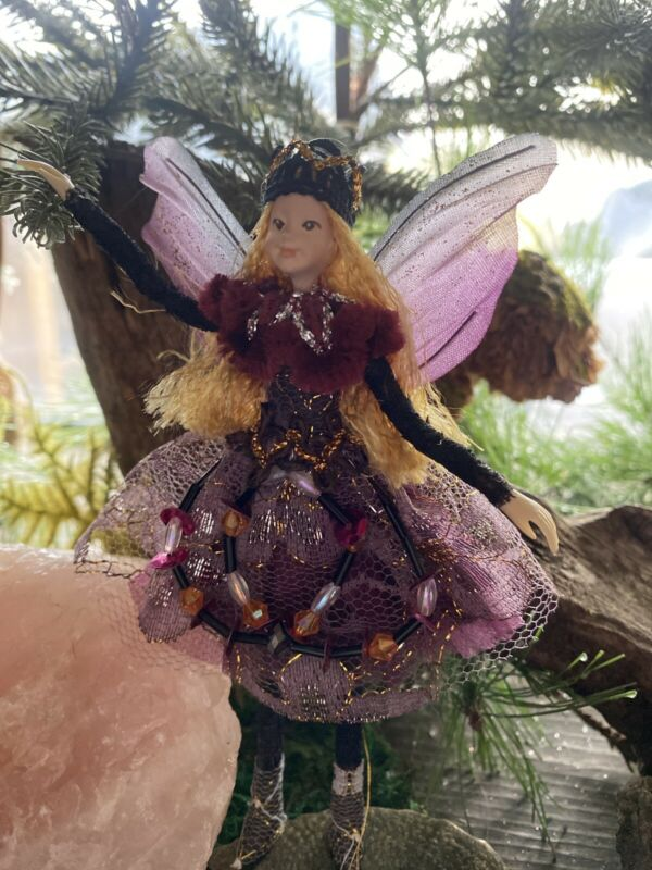 """Poseable Handmade Fairy """"Amethyst Queen"""" Collectible Doll Ornament"""
