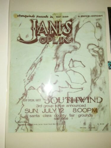 JANIS JOPLIN STEVIE NICKS July 12,1970 original concert handbill San Jose, CA