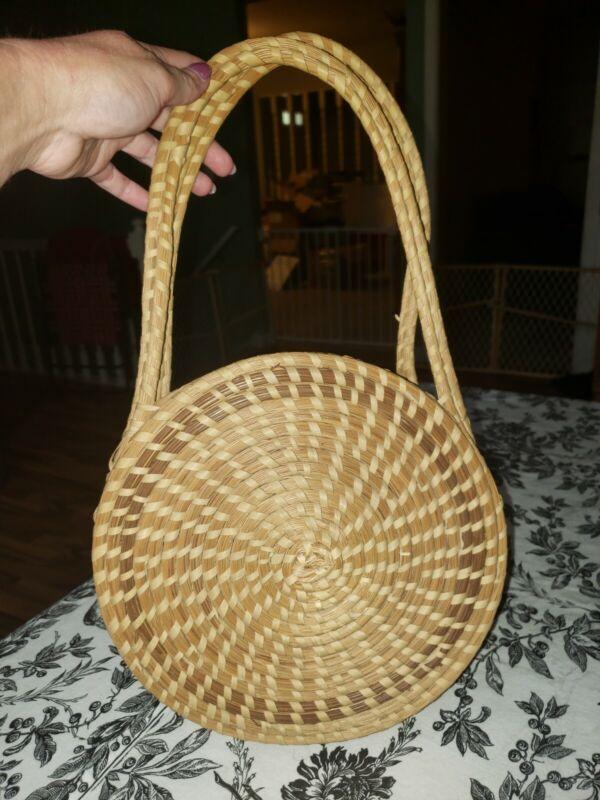 Vintage Gullah Charleston Woven Basket Purse Southern Boho