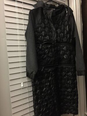 Women's black Gucci/Nasty Gal puffer coat with adjustable zippers size Med NEW