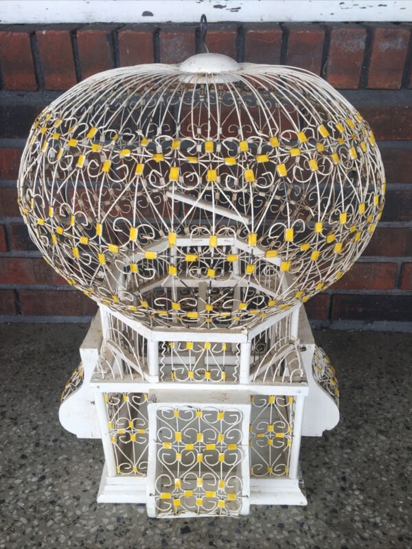 Vtg Antique Victorian Dome Top Bird Cage Birdcage Wood Metal Wire Scrolls Shabby