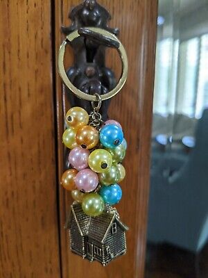 Disney Pixar Up House with Balloons Ornament Keychain Key Ring