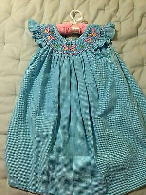 Ragsland Smocked Turquoise & White Gingham With Butterflies ~ Size 4T on Rummage