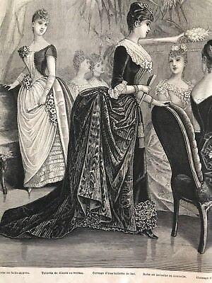MODE ILLUSTREE SEWING PATTERN Jan 10,1886 - BALL GOWNS, CORSET, MASQUERADE
