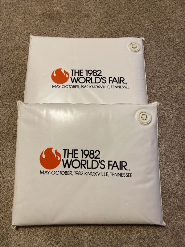 May-October 1982 World's Fair Knoxville TN Inflat-A-Matic Chair Cushion Set Of 2