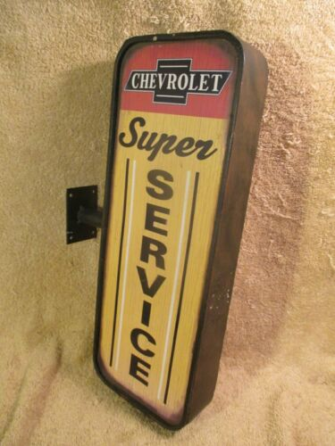 Vintage Style Chevrolet Super Service Double Sided Steel Flange Sign Chevy