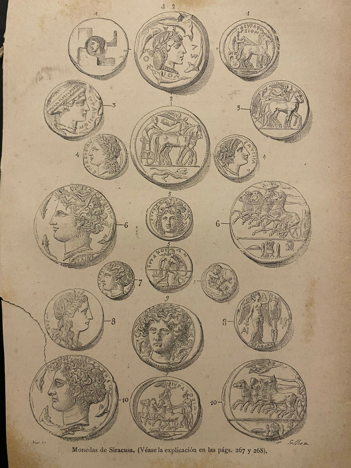 Ancient Roman Greek Coins, Small Antique 1870s Engraved Prints, Page 6 X 9  - $5.99