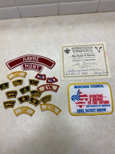 Lot of Montana Boy Scout Segments, RWS, Patch & Certificate