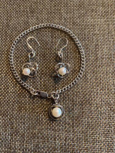 VTG Sterling Silver Pearl Charm Bracelet & Triple Ring Pearl Dangle Earring Set