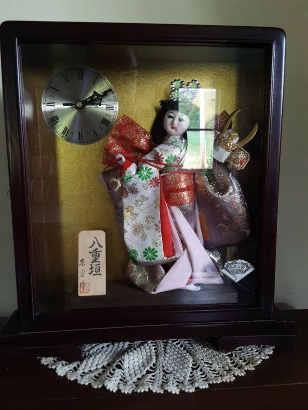 Vintage? Japanese Geisha Doll in Case W/Clock -Pretty