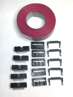 Flat Cable 16 Pins Wires Idc Ribbon 1.27mm 6 Ft - 5 Set Connectors Male-to-board