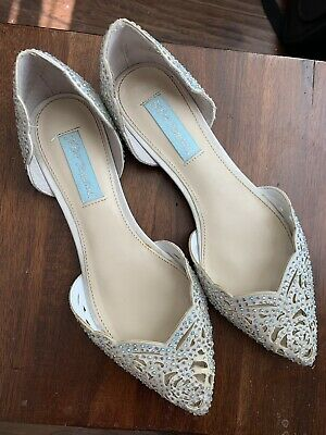 Betsey Johnson White Wedding Glam Sparkle Flats 7.5, Originally 99$
