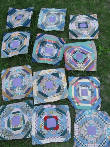 (12) HUGE, Colorful Matching ANTIQUE PATCHWORK QUILT BLOCKS, Shirting, Feedbags