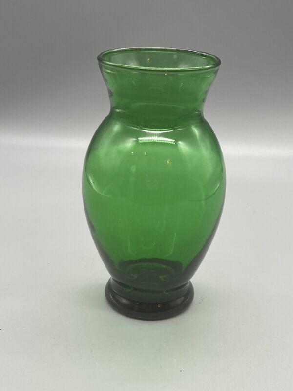"Vintage Forest Green Anchor Hocker Flower Vase St Patrick's Day 6 1/2"" Height"