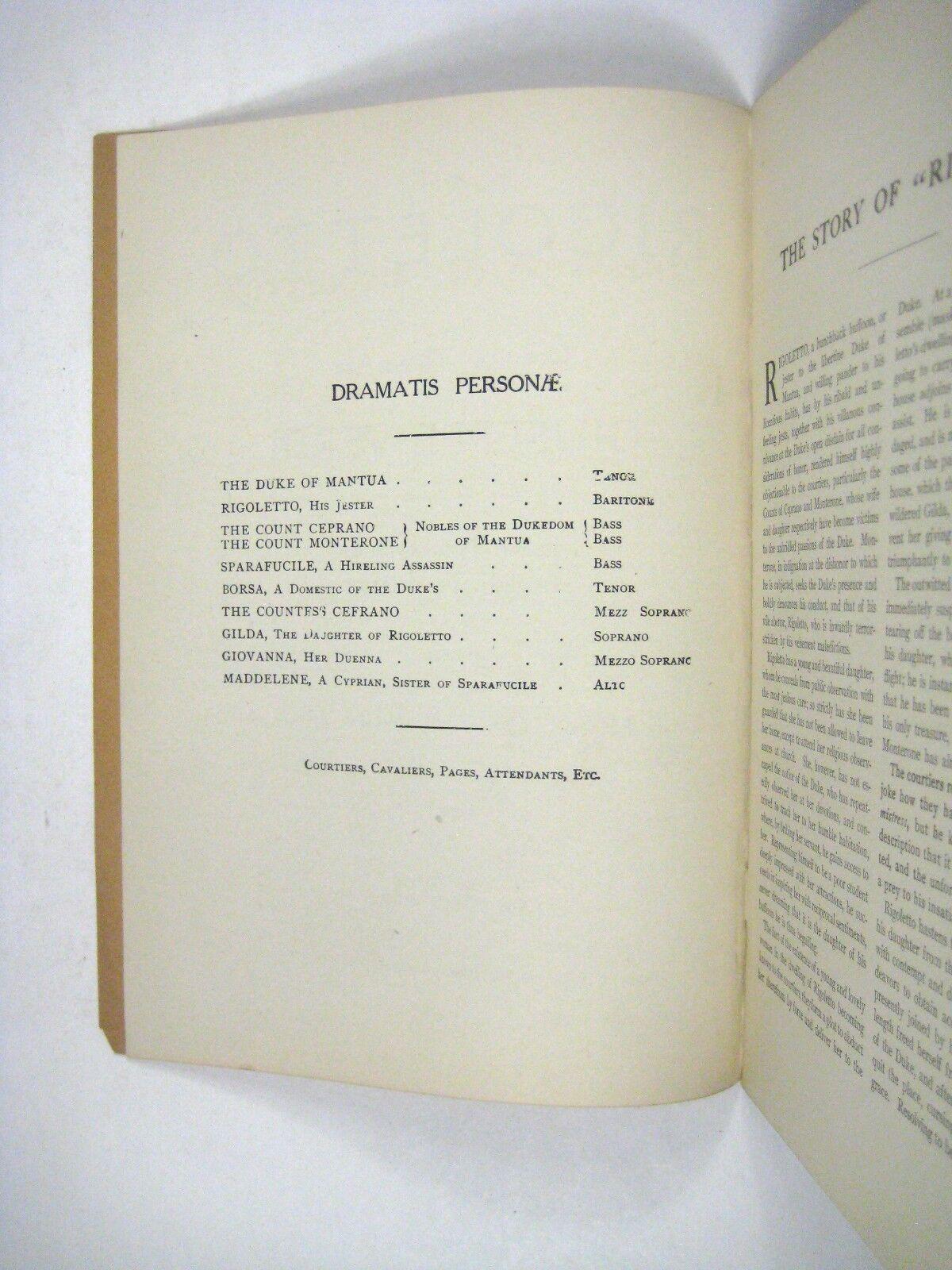Rigoletto Verdi Grand Opera Libtrettos Boston Flyer Basiola Beniamino Gigli - $99.99
