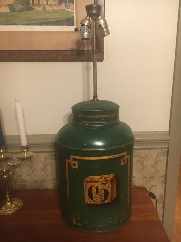 UNIQUE 19th Century Bartlett & Sons, Bristol Tole Green Tea Canister Lamp