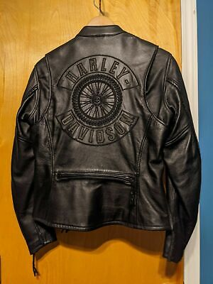 WILLIE G  HARLEY DAVIDSON  BRAIDED PREMIUM LEATHER RIDING JACKET SIZE W SMALL