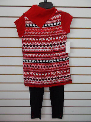 Girls Pogo Club 2Pc Red Sweater   Leggings Set Size 10 12