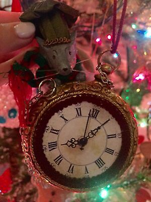 Katherine's Collection Mouse Climbing Up Clock Christmas Ornament
