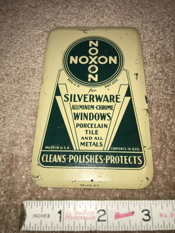Tin Soda Door Push NOXON FOR SILVERWARE Heavy Steel Metal Cleans Polishes Protec