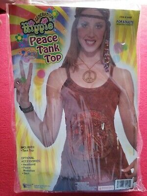 Womans Hippie Peace Tank Top Halloween Costume Adult