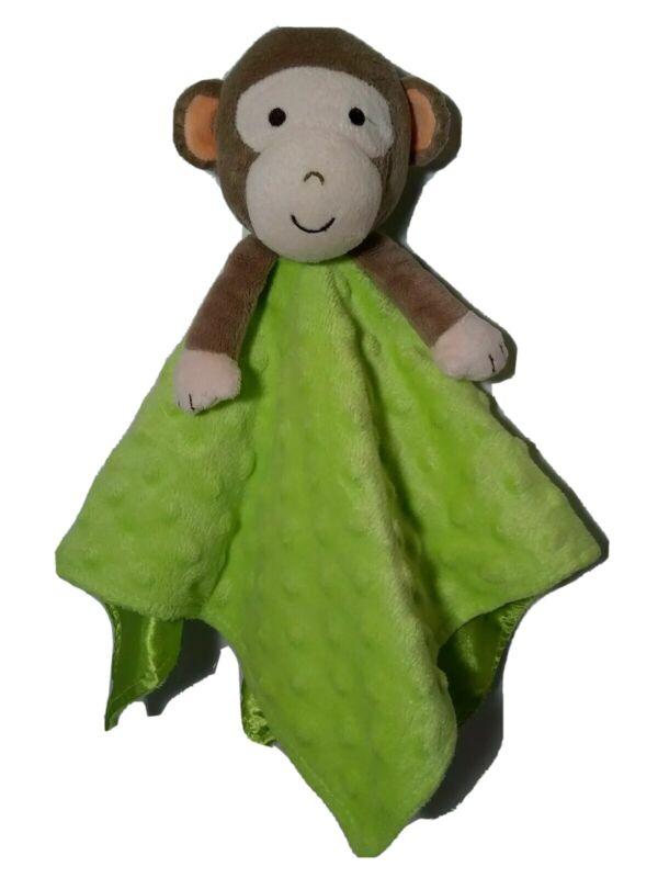Okie Dokie Monkey Security Blanket Rattle Green Minky Dot Satin Back Baby Lovey
