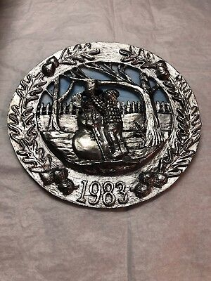CLEAN 1983 MICHAEL RICKER PEWTER PLATE MIDWEST CHRISTMAS 2032/4900 LIMITED ED 8""