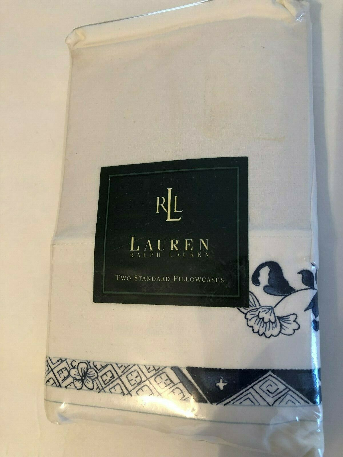 NIP Ralph Lauren Porcelain  BLUE WHITE 2 Standard PILLOWCASE