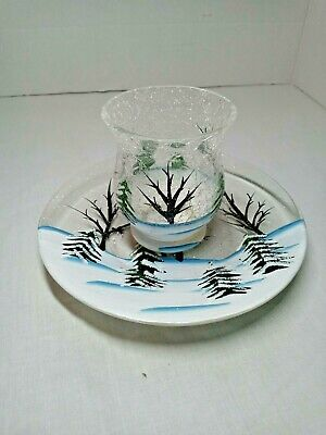 "YANKEE CANDLE FOREST CRACKLE GLASS Votive Holder 3.5"" and Large Jar plate 7"""