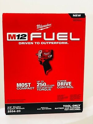 "NEW IN BOX Milwaukee 2554-20 M12 Stubby 12V Brushless 3/8"" Dr. Impact Driver"