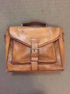 Distressed vintage style tan leather briefcase bag for sale Kurralta Park West Torrens Area Preview