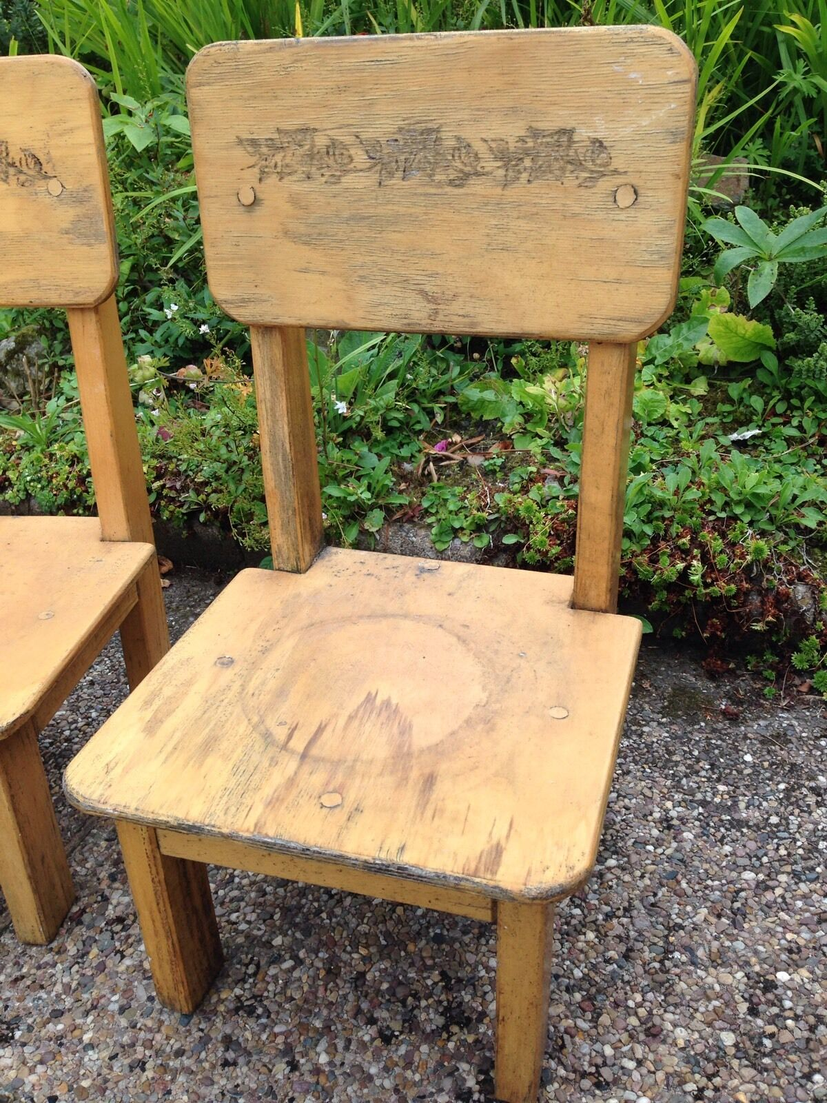 2 Vtg Childrens wooden Chairs Cute Shabby Chic Restoration Twin Carved Backs