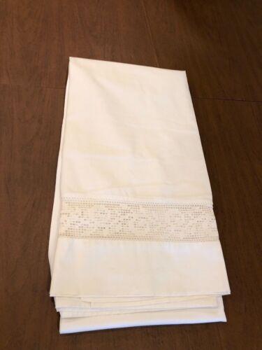 "Antique Victorian Linen Handmade Knot Work Lace Flat Bed Sheet 82""W x 84""L Heavy"