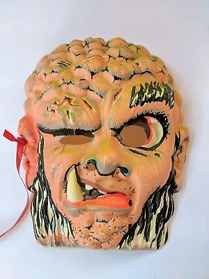 Vintage Halloween Face Mask Orange Scary Guy With Big Tooth and Brains (Scary Vintage Halloween Masks)