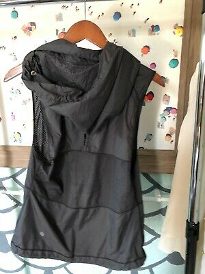 Lululemon Active Womens Mesh Lightweight Vest - Black - Sz 4 - w/ Packable Hood