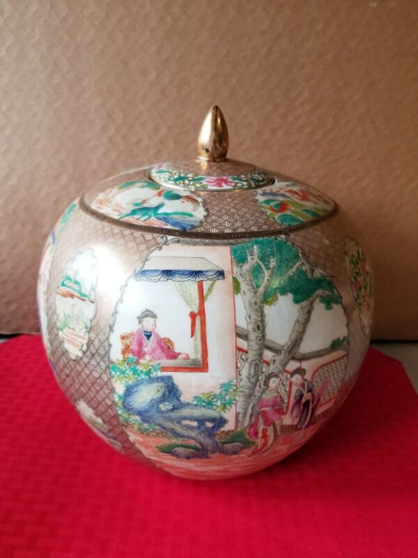 """CHINESE 19th Century Hand Painted 10"""" x 10"""" Ginger Jar, Gold Accents Red Stamp"""