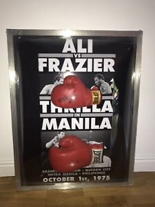 Signed & Framed Muhammad Ali Joe Frazier Glove, Rumble In The Jungle With COA