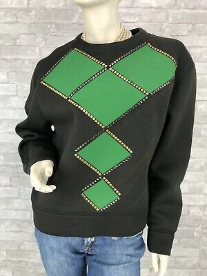 Versace New Tags Green Stud Stretch Sweatshirt Sweater Top 4 6 US 42 IT S Runway