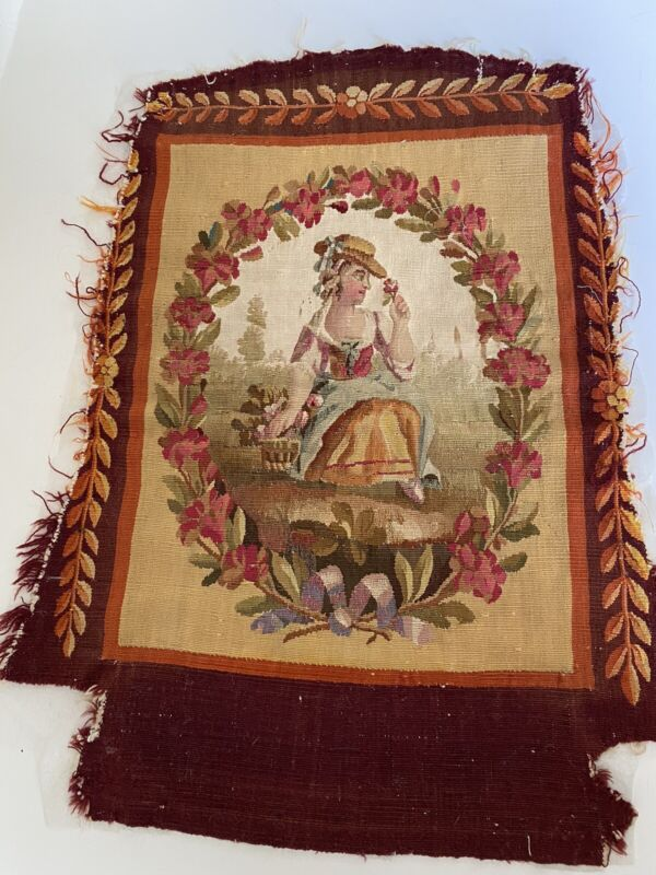 Antique French Aubusson Tapestry With Woman And Flowers