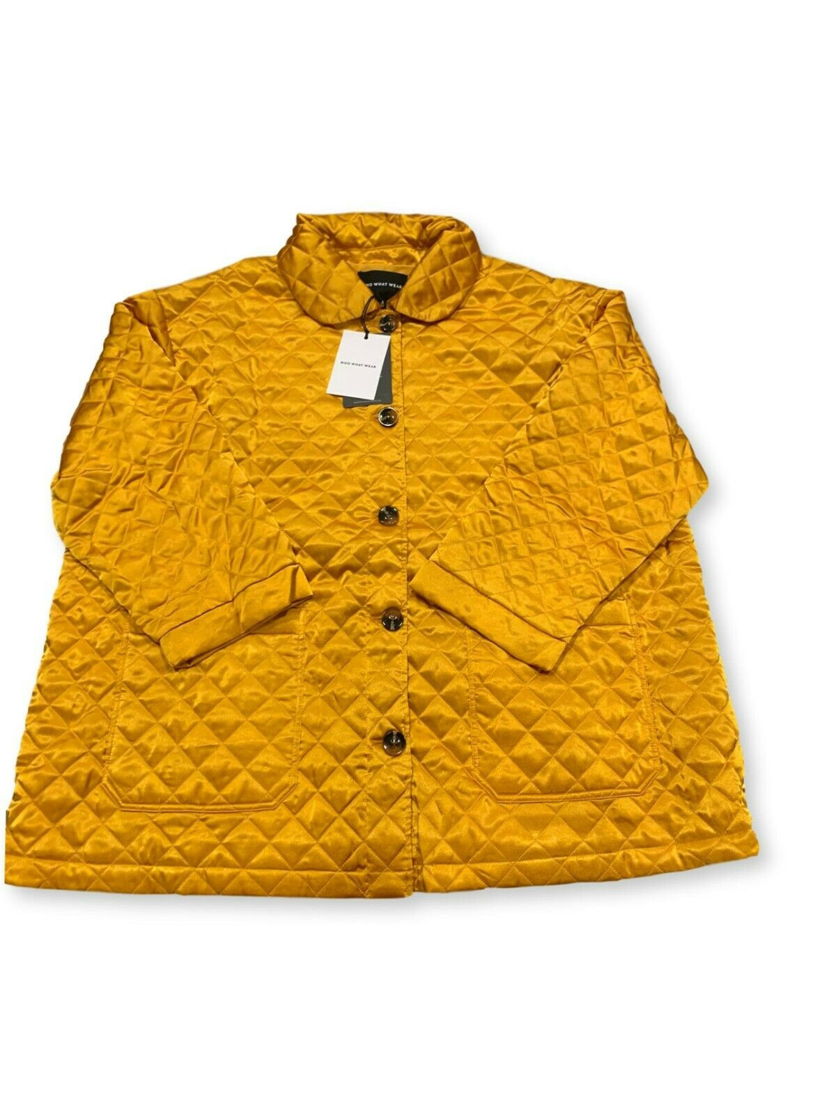 Women's Plus Size Long Sleeve Quilted Satin Jacket – Who What Wear Yellow 3X Clothing, Shoes & Accessories