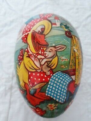Vintage Western Germany Easter Egg Candy Container Pressed Cardboard Ducky