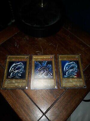 red eyes black dragon - Limited Edition Holo - BPT-005 blue eyes white Dragon x2