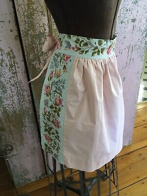 Adorable Blue Vintage Kitchen Apron Pink Cotton Fabric Roses 1950s #11