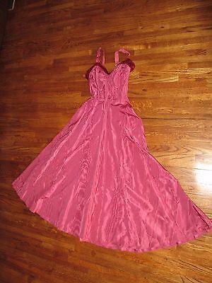 Vintage 1940's Raspberry Liquid Satin Dress Gown Velvet Trim Party Prom Cocktail
