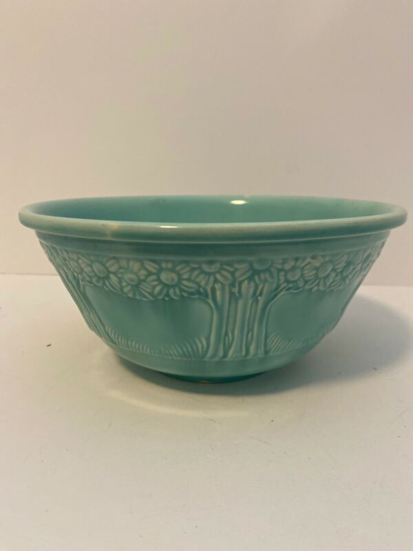 Homer Laughlin Apple Tree Turquoise Bowl 9.5""