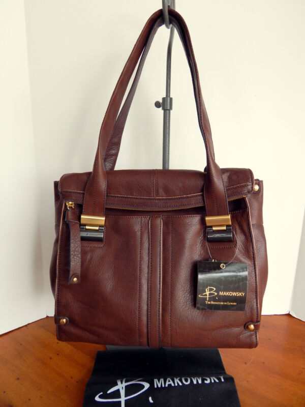 B. Makowsky Leather Ava Foldover Satchel Shoulder Shopper Tote +DustBag NWT $318