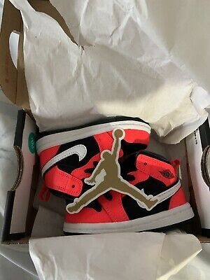 Air Jordan 1 Mid Infrared Nike Boys Girls Toddler Kids Sneakers Shoes 4C 4 C NEW