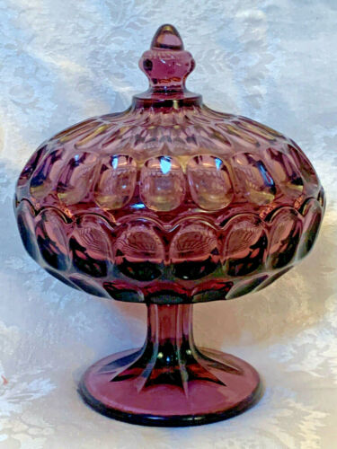 Amethyst Glass Covered Compote Candy Dish Footed Stem Unmarked