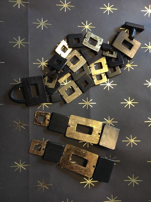 MONIES massive SET gold foil Ebony  gerda lynggaard Bracelet, Earrings